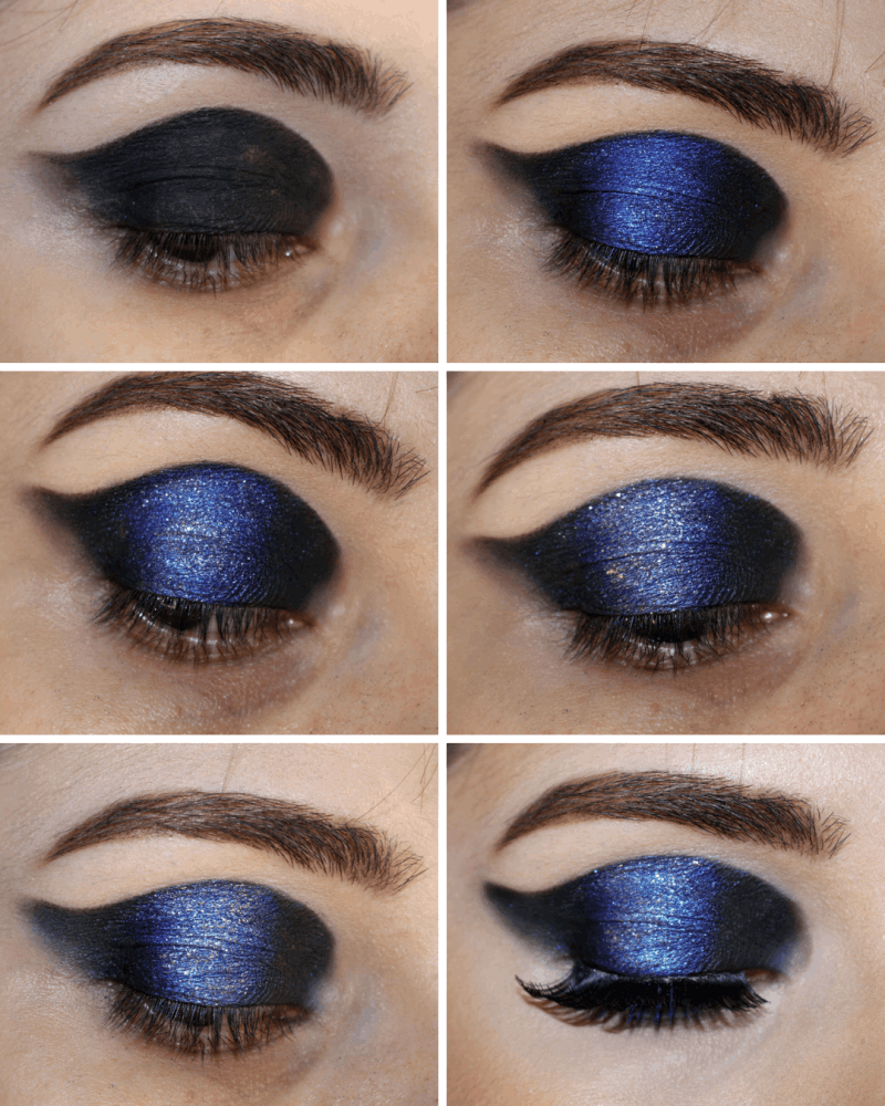 frankiefrancy pictorial of structed black and blue cut crease for creative makeup