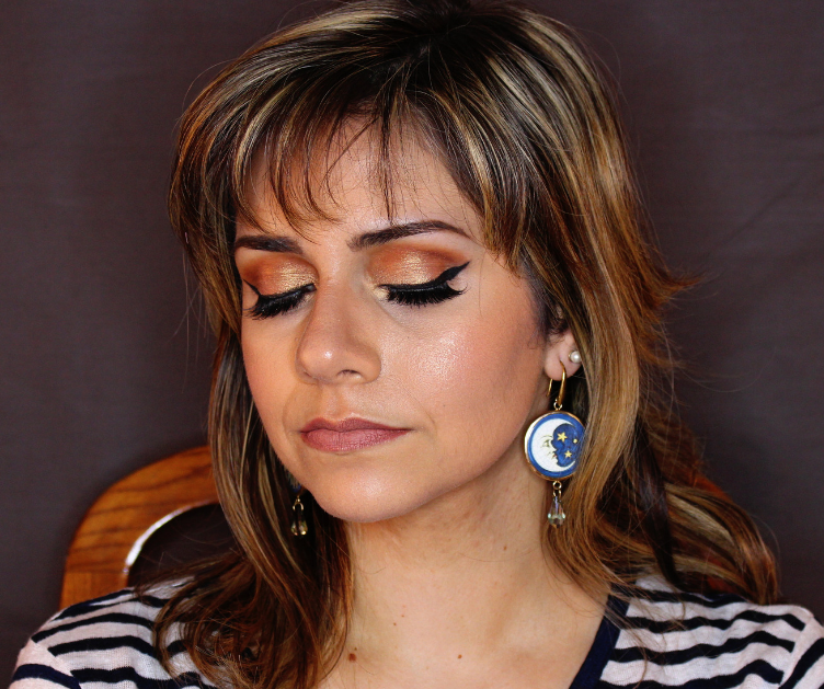frankiefrancy natural tone glam makeup look with false lashes