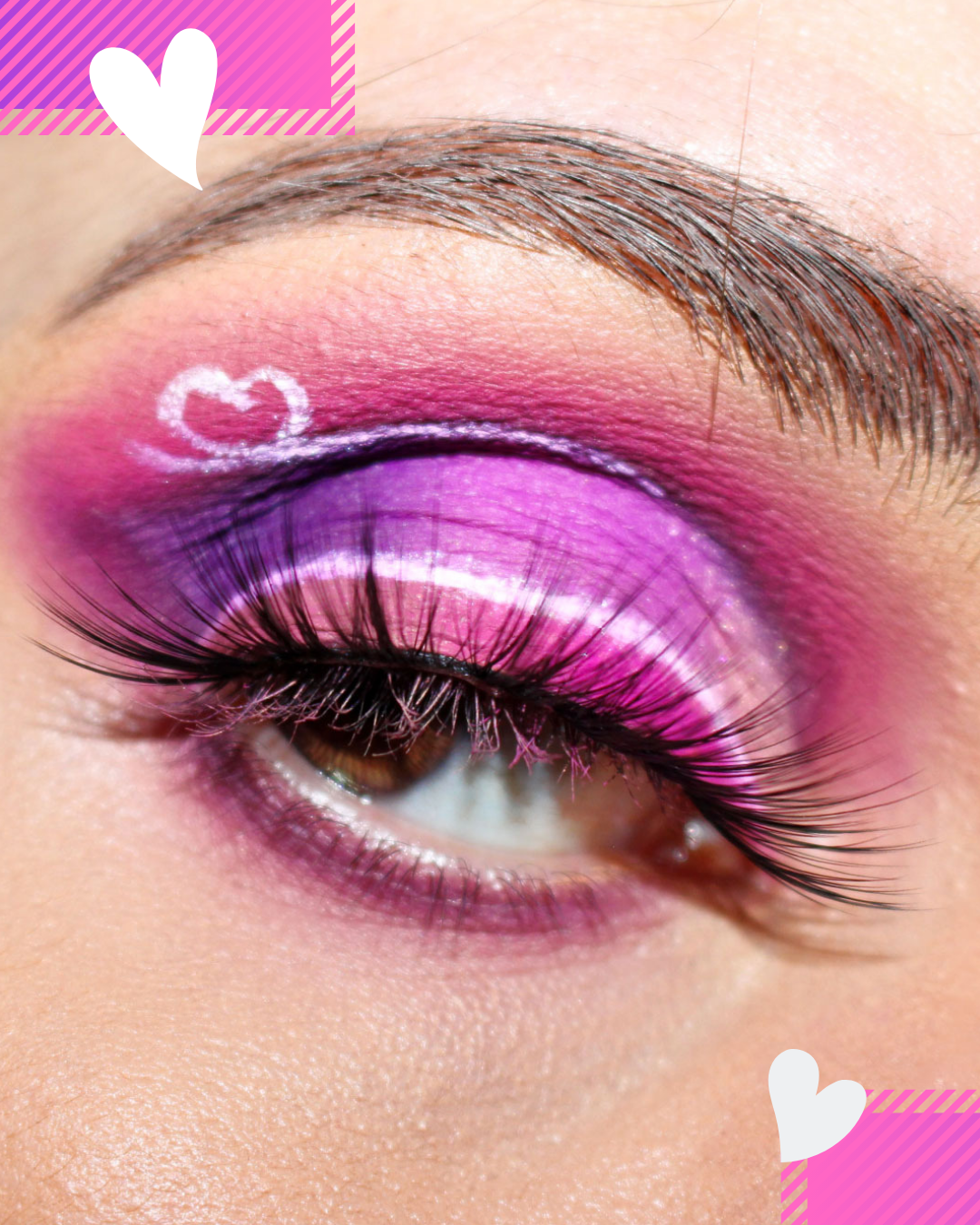 frankiefrancy Saint Valentine pink makeup look with heart detail. soft cut crease